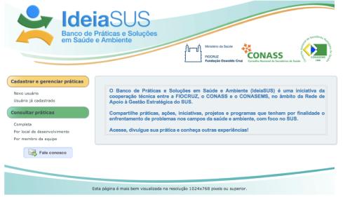 O portal IdeiaSUS  é uma plataforma para o registro e o acesso de práticas e soluções para o SUS. Cadastre suas práticas de promoção da saúde e dê visibilidade ao que você faz. A sua experiência pode inspirar ações em todo o Brasil!