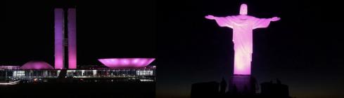 À esquerda, o Congresso Nacional, à direita, o Cristo Redentor, iluminados em alusão à campanha Outubro Rosa, para prevenção do câncer de mama