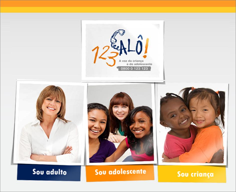 O site 123ALÔ! traz conteúdos informativos e oferece atendimento online  para três perfis: adultos