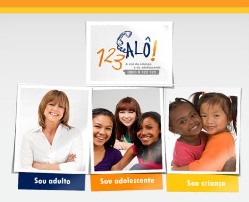 O site 123ALÔ! traz conteúdos informativos e oferece atendimento online para três perfis: adultos, adolescentes e crianças
