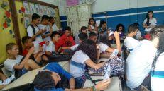 Alunos da Escola Municipal Jonatan Serrano