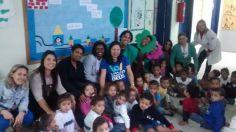 RAP da Saúde CAP 5.2 na Escola-Creche Municipal Josepha Ferreira da Costa, em Campo Grande, realizando atividade educativa com os alunos em alusão meio ambiente